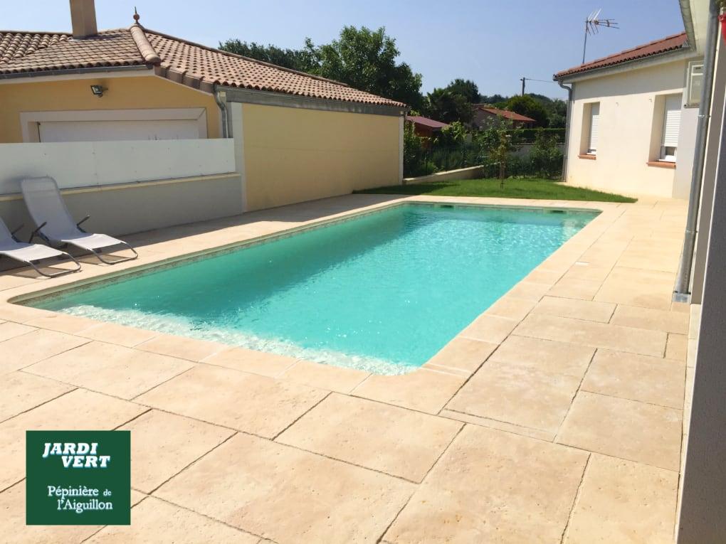 Création d'une piscine et sa terrasse en dallage à Fontenilles