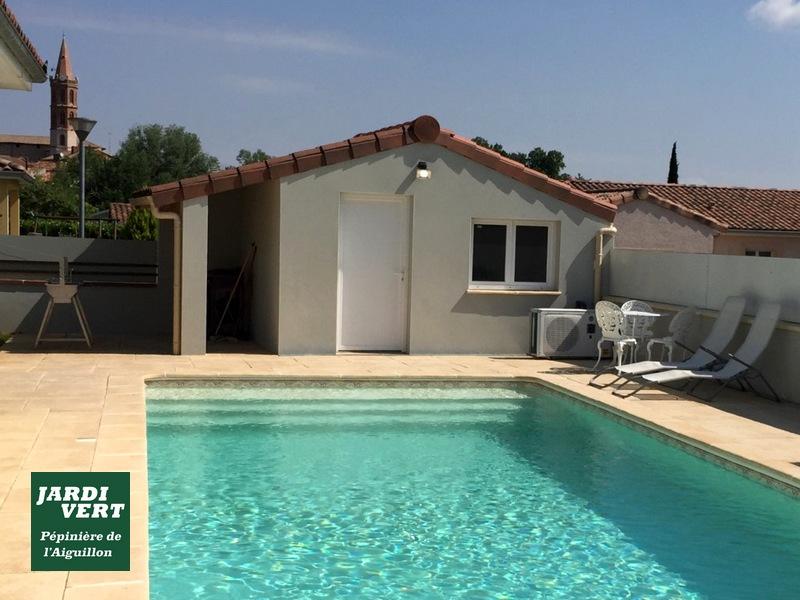 Création d'une piscine dans un petit jardin, construction d'un pool house et d'une terrasse en dalles béton à Fontenilles