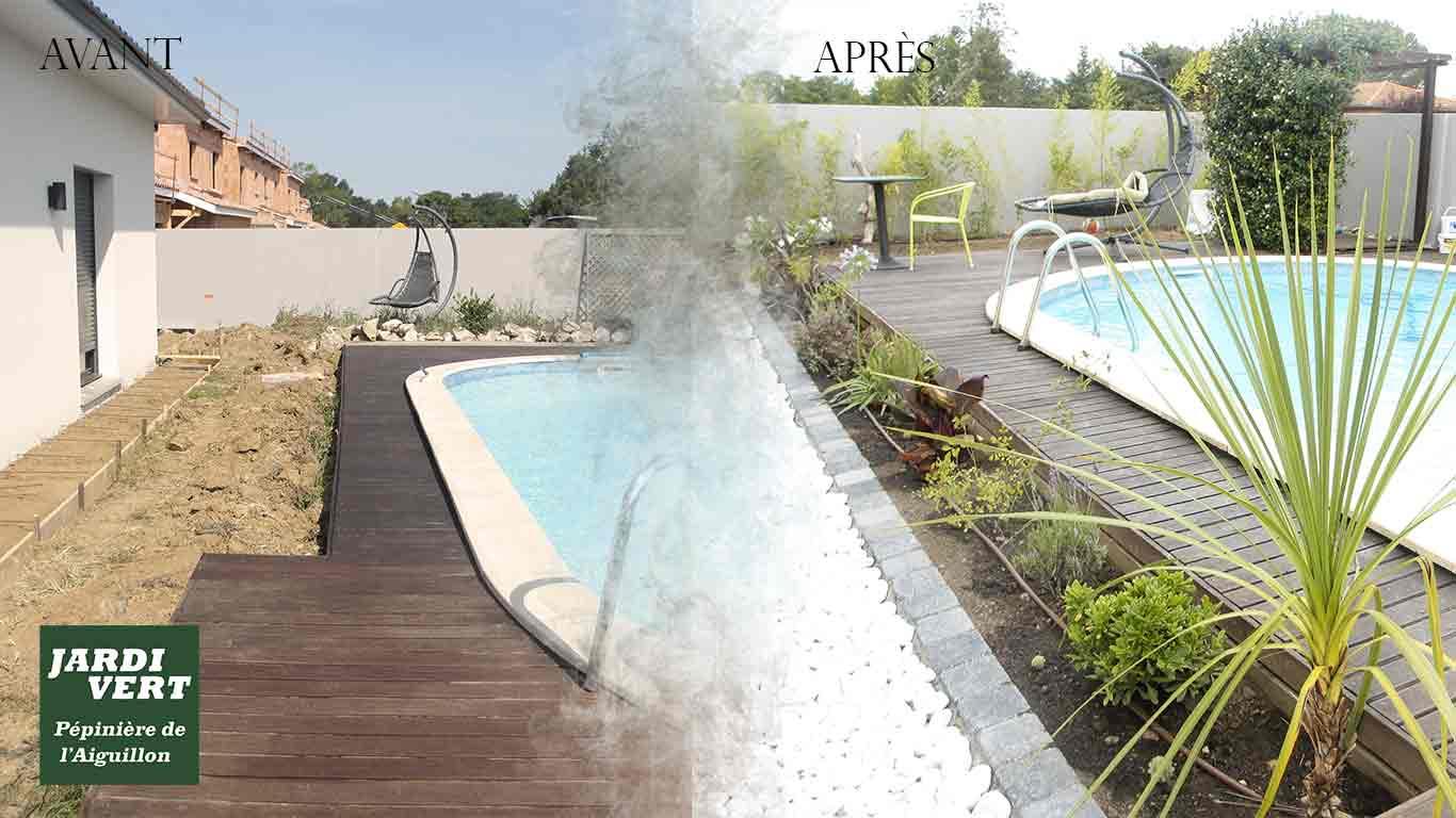 Aménagement d'une plage piscine et sa terrasse bois à Fontenilles
