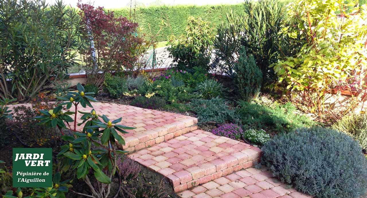 Construction d'escalier de jardin en pavé béton à Colomiers