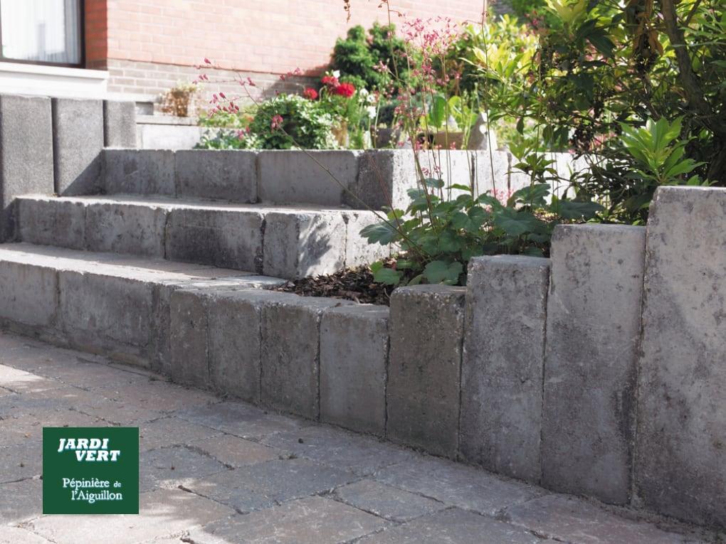 Exemple d'escaliers en pavé vieilli béton