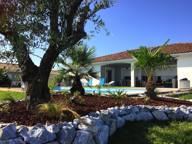 Création de massifs méditerranéens avec plantations de palmiers et d'olivier à Pibrac