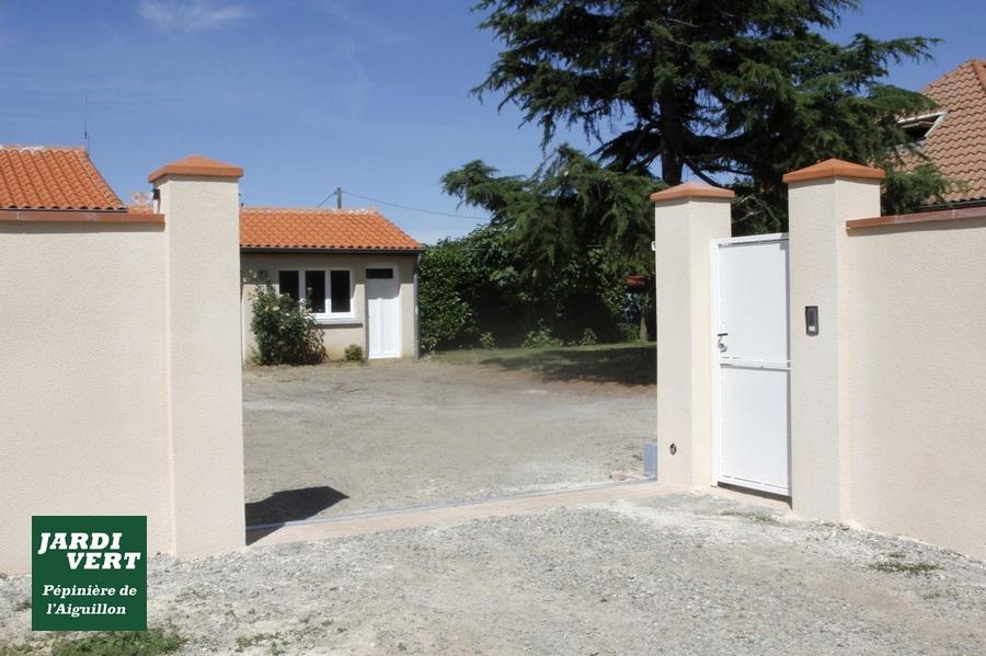 Construction de murs en parpaing avec pose de brique foraine et enduit de couleur à Villeneuve Tolosane