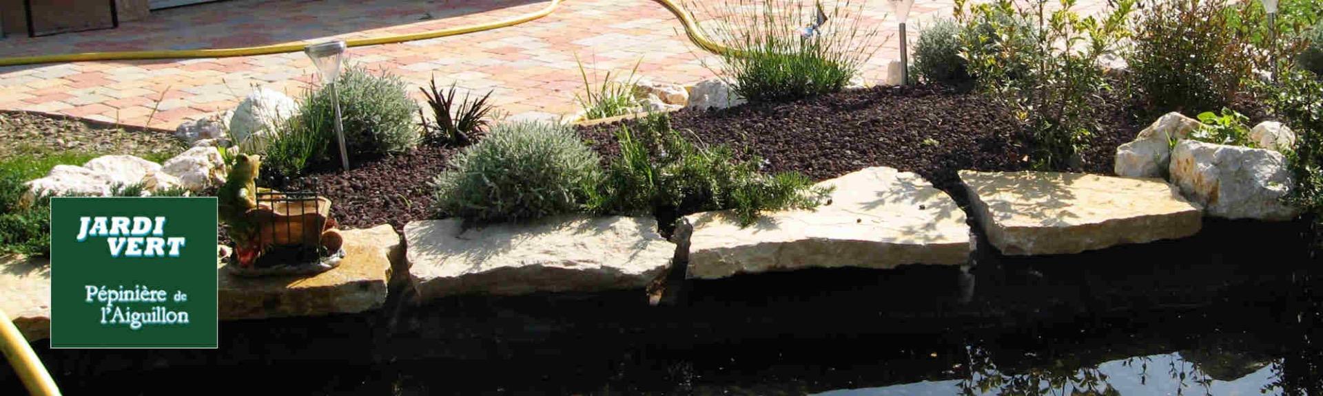 Aménagement de bord de bassin - Plantes aromatiques et plantes à massifs